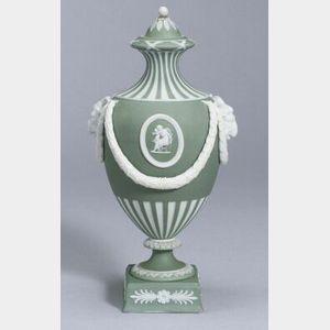Wedgwood Light Green Jasper Dip Vase and Cover