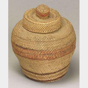 Northwest Makah Twined Lidded Basket.