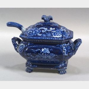 Blue Transfer Decorated Staffordshire Pottery Covered Sauce Tureen and Ladle