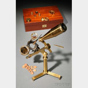 Cased Brass Gould-type Microscope and Compendium