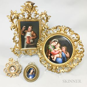 Four Framed Continental Hand-painted Porcelain Portrait Plaques