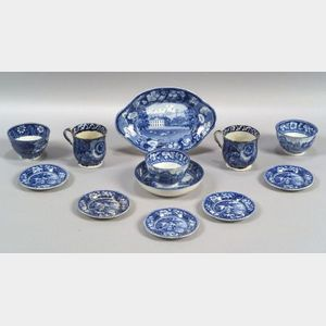 Twelve Blue Transfer Decorated Staffordshire Pottery Table Items
