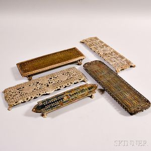 Five Silver-plated Cribbage Boards