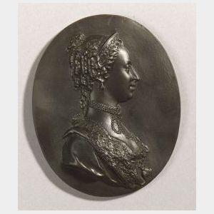 Wedgwood and Bentley Black Basalt Portrait Medallion of Princess Dowager of Wales