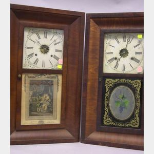 Two Waterbury Clock Co. Empire Mahogany Veneer Ogee Mantel Clocks