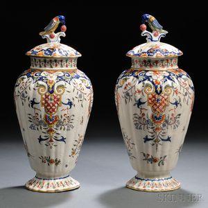 Pair of Polychrome Tin-glazed Earthenware Covered Vases