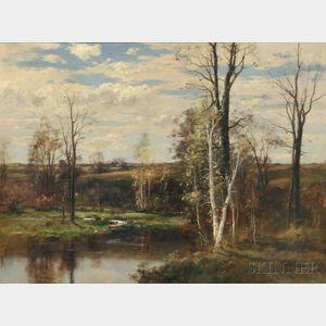 John Appleton Brown (American, 1844-1902)      Water Meadow in Autumn