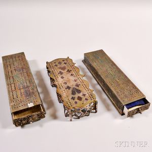 Two Silver-plated Cribbage Boards with Drawer and a Pierced Silver-plated Cribbage Board