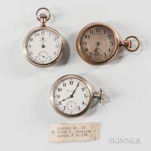Three 18 Size Hamilton Open-face Watches