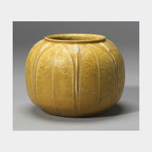 Grueby Yellow Pottery Vase
