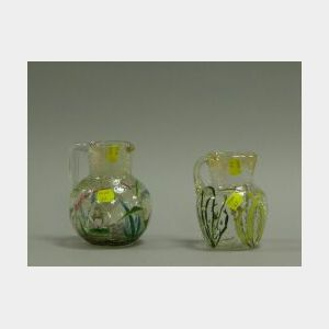 Two French Enameled Crackle Glass Pitchers.