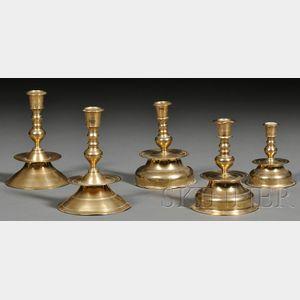 Five Small Brass Capstan Candlesticks