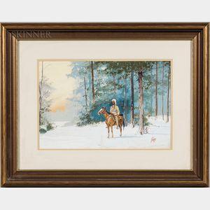 "Apworth ""Ap"" Adams (American, 20th Century)      Warrior on Horseback in Winter"