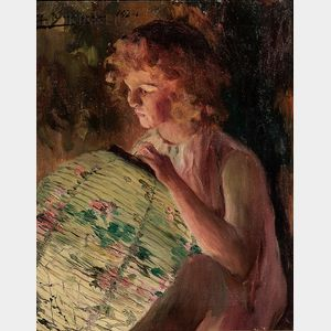 Luis Graner y Arrufi (Spanish, 1863-1929)      Girl with a Japanese Lantern (Niña con farolillo)