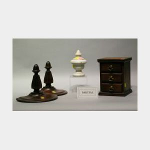 Three Wooden Shelves, Jewel Box, Grey Marble Urn and White Marble Ornament.