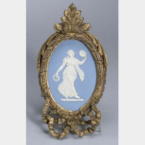 Wedgwood Solid Light Blue Jasper Oval Plaque
