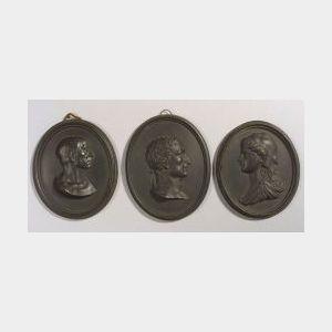 Three Wedgwood Black Basalt Portrait Medallions