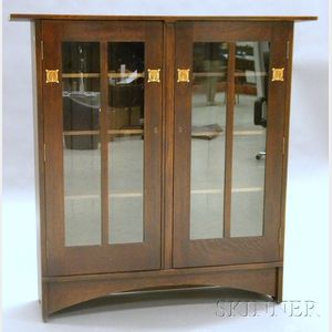 Arts & Crafts Style Inlay Bookcase