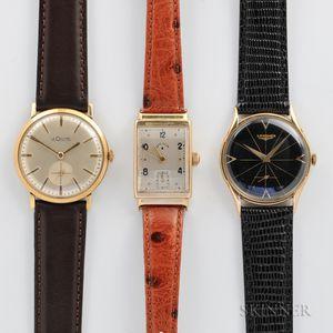 Three 14kt Gold Wristwatches