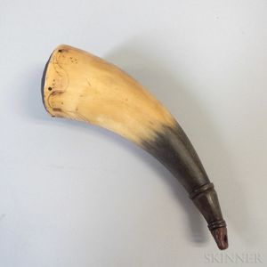 Engraved Powder Horn with Pinwheel-carved Lid