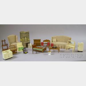 Group of 20th Century Wood and Tin Dollhouse Furniture and Accessories.