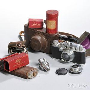 Leica Camera IIIA Model G and Two Lenses