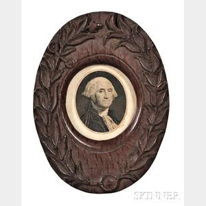 Washington, George (1732-1799) Engraved Portrait Framed in Oak Made from the USS Constitution.