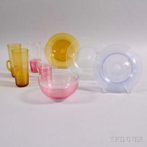 Eight Threaded Glass Tableware Items