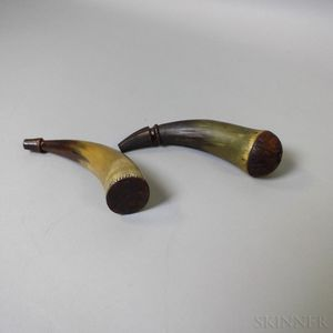 Two Engraved Powder Horns