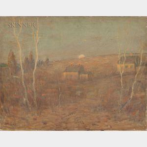 Arthur Clifton Goodwin (American, 1866-1929)      Farmhouses and Birches at Sundown