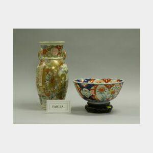 Chinese Champleve Bronze Vase, Brass Sconce, Satsuma Vase and Imari Porcelain Bowl.