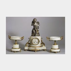 White Onyx and Bronze Clock Garniture
