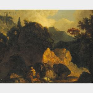Continental School, 18th/19th Century      Landscape with Seated Man, Woman, and Child