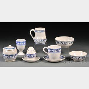 Eight Pieces of Dedham Rabbit Pottery