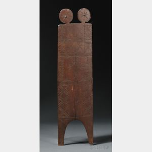 Sold for: $41,475 - Rare Eastern Sioux Carved Wood Board