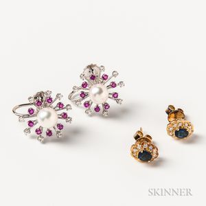Two Pairs of 14kt Gold Gem-set Earrings