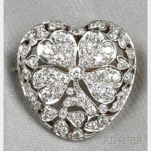 Edwardian Diamond Heart Brooch