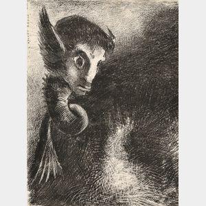 Odilon Redon (French, 1840-1916)      La Chimère regarda avec effroi toutes choses