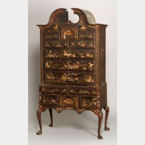 Sold for: $1,876,000 - Rare Queen Anne Japanned Maple and Pine High Chest of Drawers