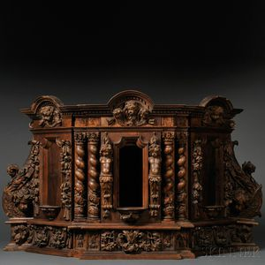 Italian Renaissance-style Carved Walnut Table Cabinet