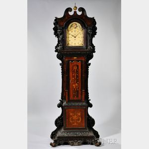Elaborately Carved and Marquetry Inlaid Chime Clock