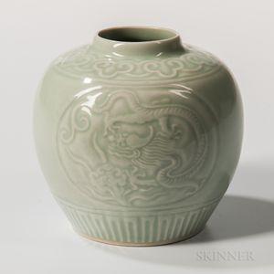 Celadon-glazed Jar