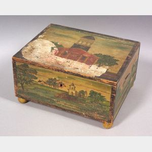 Polychrome Painted Box Depicting a Meeting House in Charlestown, Massachusetts