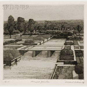 Leonard Lehrer (American, b. 1935)      Lot of Three Garden Views: Formal Garden;   Formal Garden