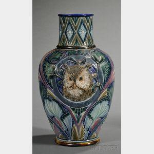 Doulton Lambeth Stoneware Owl Vase