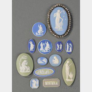 Thirteen Assorted Wedgwood Jasper Medallions