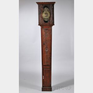 Brass Posted-frame Alarm Lantern Clock and Case