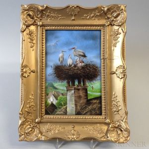 Framed Hand-painted Porcelain Plaque of Birds in a Nest