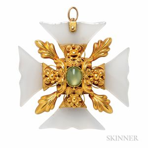 Antique Gold and Chalcedony Maltese Cross Pendant/Brooch