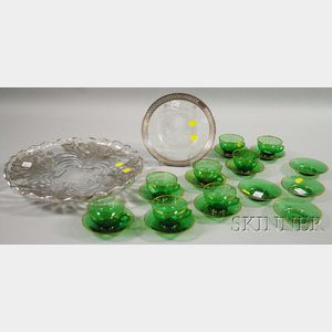 Set of Eight Gilt-decorated Green Glass Punch Cups and Saucers with Two Silver and   Colorless Glass Serving Dishes